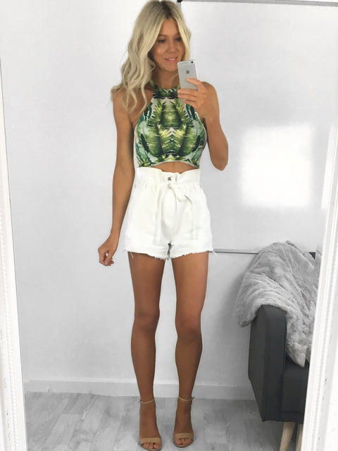 Gemma Paper Bag Waist Shorts - White