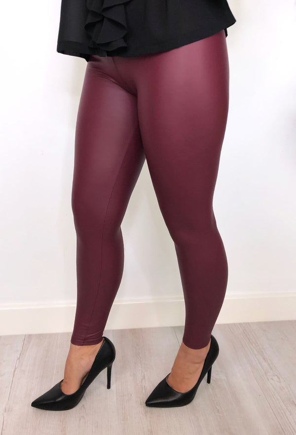 Sexy Pants Leather Look Leggings 😉- Wine