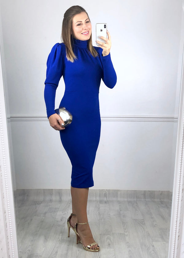 Dallas Cobalt Blue High Neck Dress