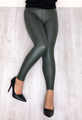 Sexy Pants Leather Look Leggings - Khaki