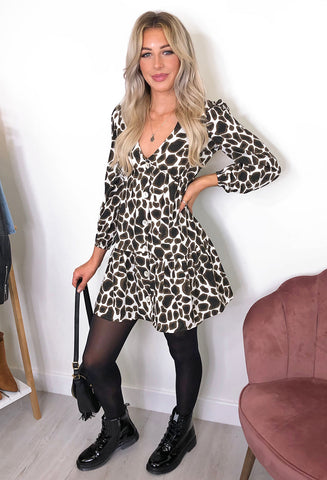Avery Animal Print Smock Dress