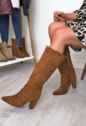 Yasmin Tall Heeled Boots - Tan