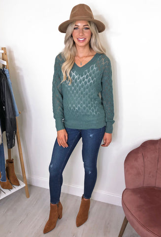 Evelyn Knitted Jumper - Aqua Green