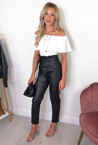 Rio Paperbag Leather Look Trousers