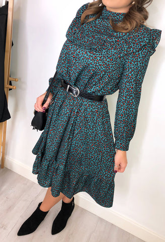 Tatum Leopard Print Frill Dress - Green