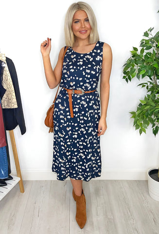 Amaya Navy Ditsy Print Maxi Dress