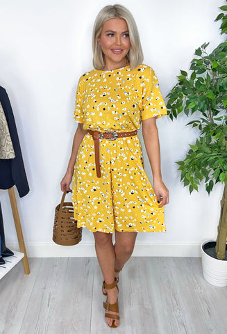 Ichi Andi Short Sleeve Dress - Yellow