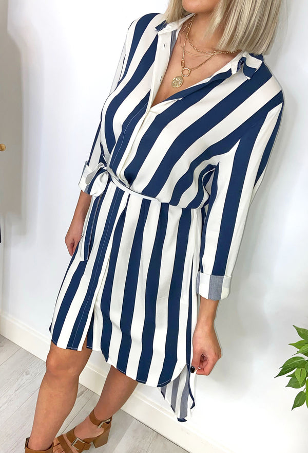 Ichi Sustainable Laura Striped Shirt Dress - Navy and White
