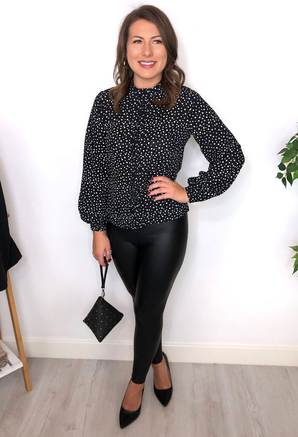 Perrie Spot Blouse - Black