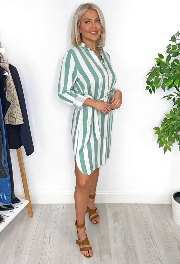 Ichi Sustainable Laura Striped Shirt Dress - Green and White