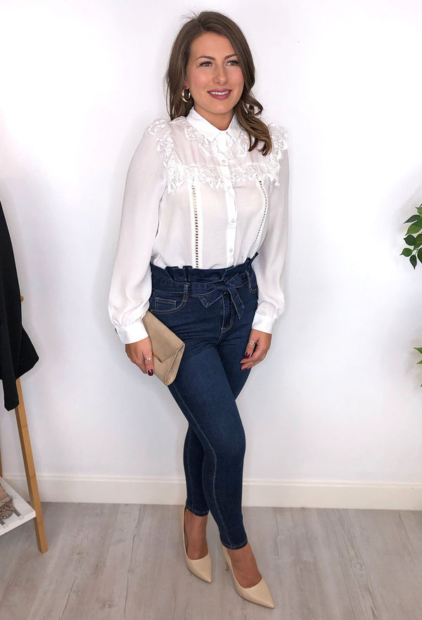 Sophie Lace Frill Blouse - White