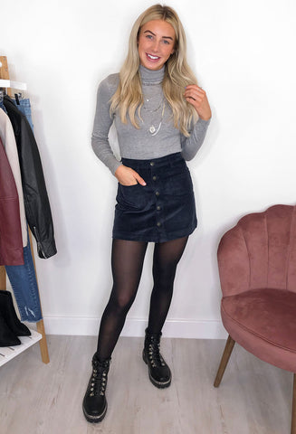 ONLY Amazing Cord Mini Skirt - Midnight Sky