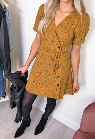 Susannah Button Through Dress - Mustard/Navy