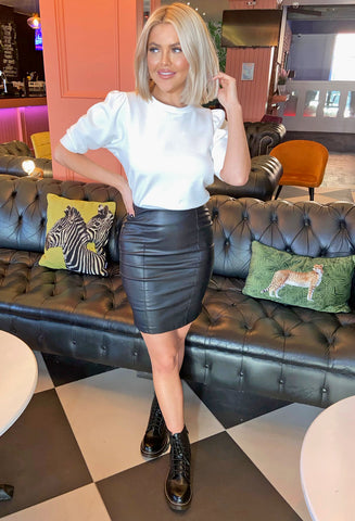 Salma Leather Look Skirt