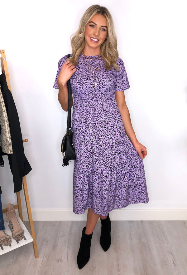 Tilly Ditsy Print Tiered Midaxi Dress - Lilac