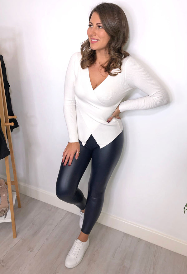Sexy Pants Leather Look Leggings - Navy