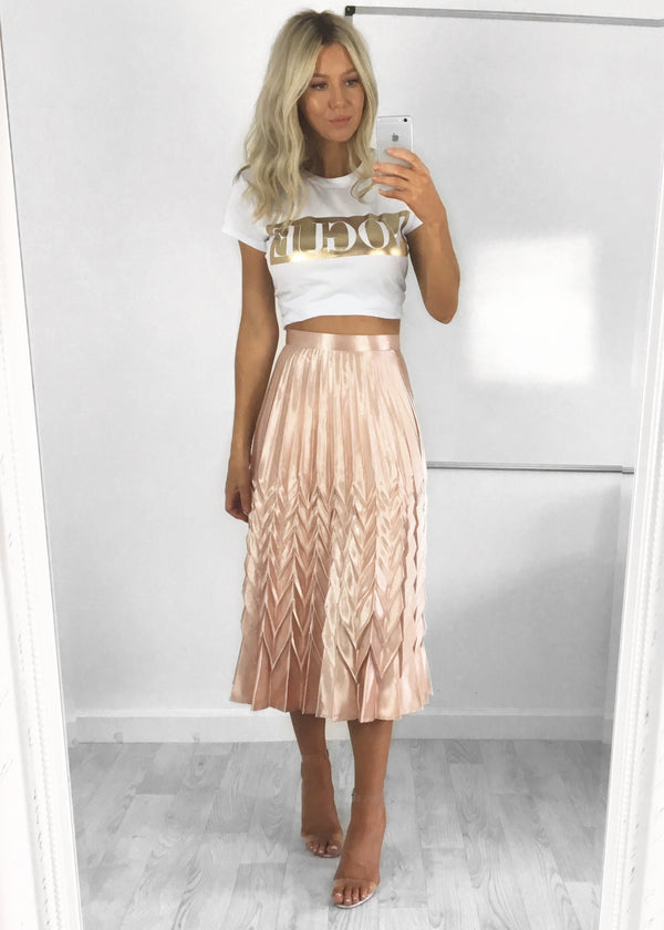 Bonnie Metallic Pleat Skirt - Rose Gold