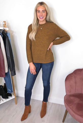 Fransa Nancy Button Shoulder Jumper - Mustard