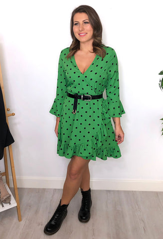 Juno Polka Dot Wrap Dress - Green