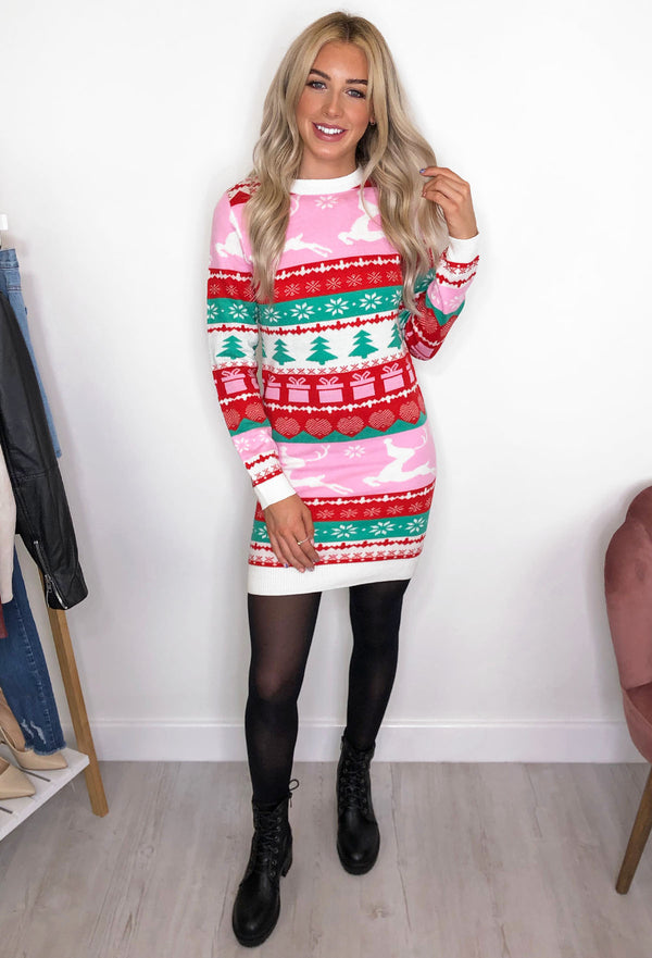 Brave Soul Fairisle Christmas Jumper Dress