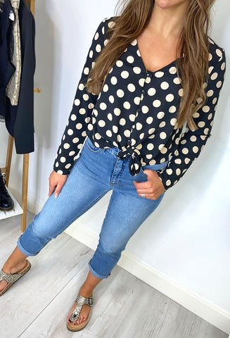 Brave Soul Darcy Long Sleeve Polka Dot Top