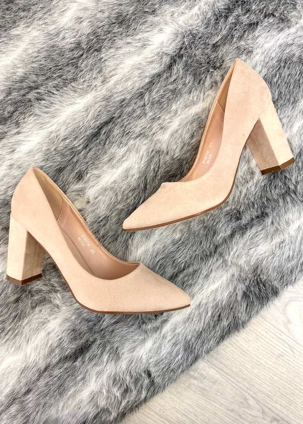 Precious Block Heel Court Shoes - Nude