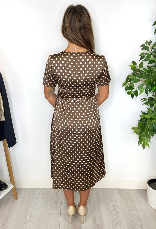 Brave Soul Vivienne Polka Dot Satin Midi Dress