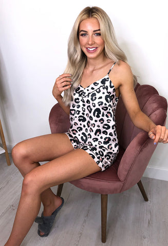 Cami and shorts nightwear set pink leopard