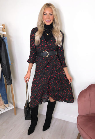 Brave Soul Mary Heart Print Midi Dress - Black