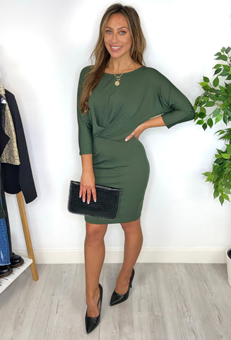 ICHI Roisin Knot Dress - Green