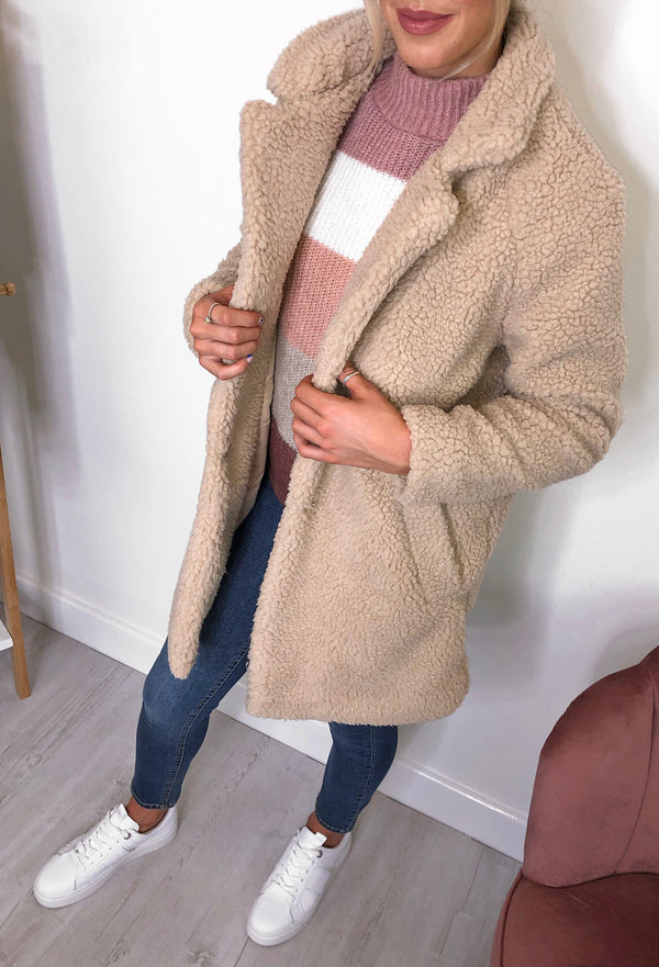 ONLY Laurelia Sherpa Coat - Sand