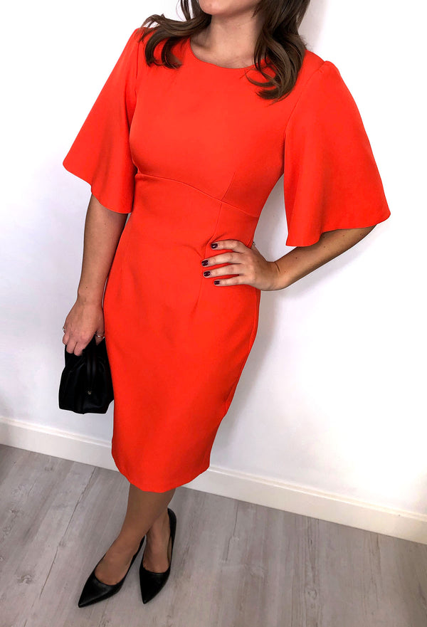 Elouise Flared Sleeve Dress - Orange