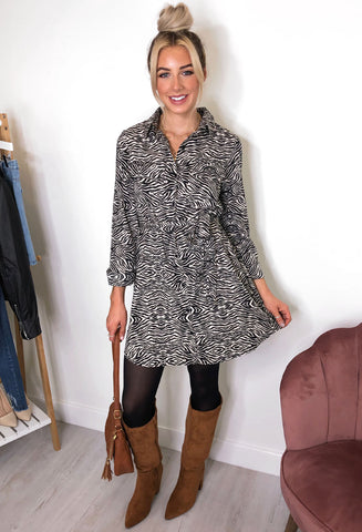 Brave Soul Belmira Animal Print Shirt Dress