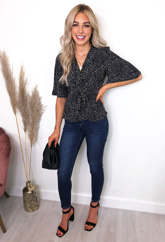 Hannah Flared Sleeve Top - black and white polka dot