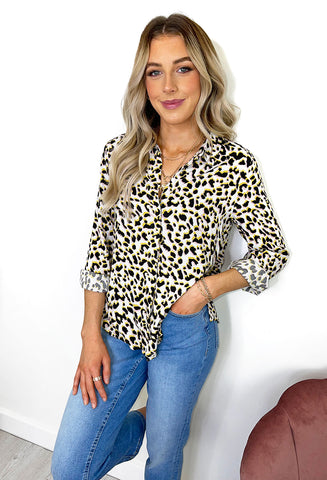 ICHI Zemira Animal Print Shirt