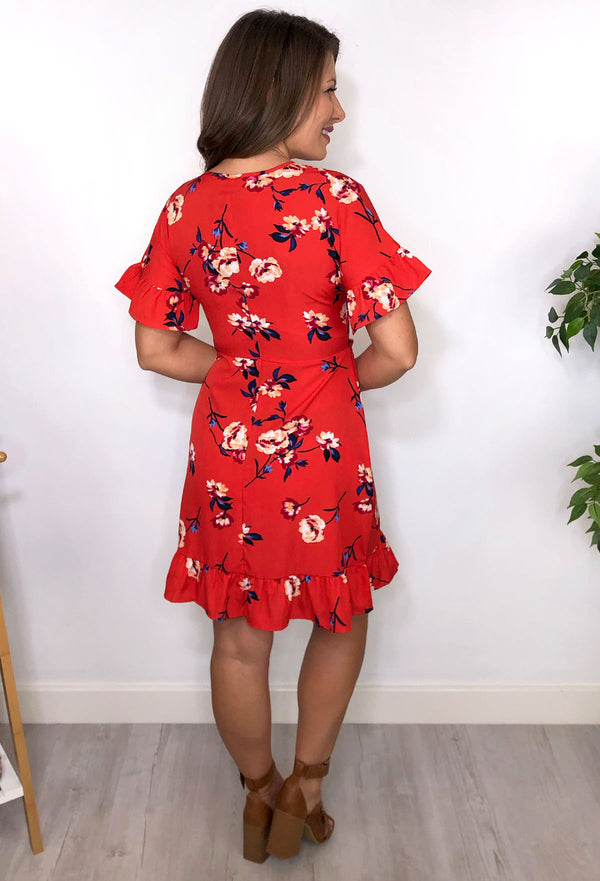 Shiloh Red Floral Wrap Dress