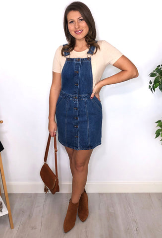 Danny Denim Pinafore Dress - Blue Wash
