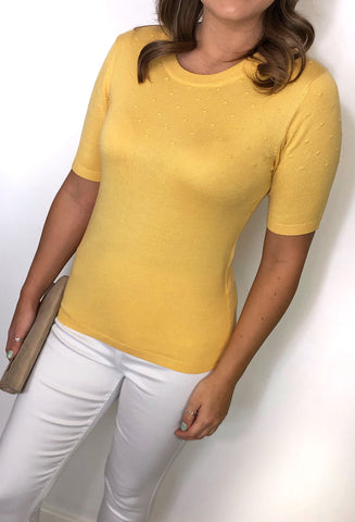 Natalie Short Sleeved Top - Yellow