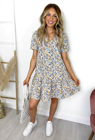 ONLY Tam Floral Dress - White