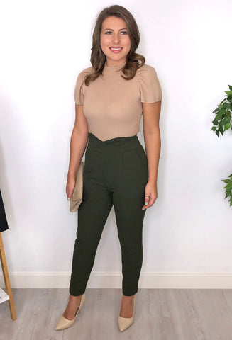 Jenna High-Waist Detail Trousers - Khaki