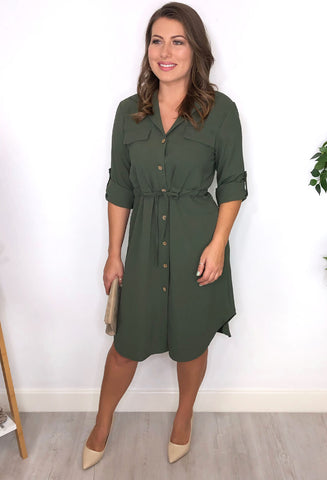 Gina Shirt Dress - Khaki