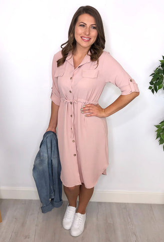 Gina Shirt Dress - Dusty Pink