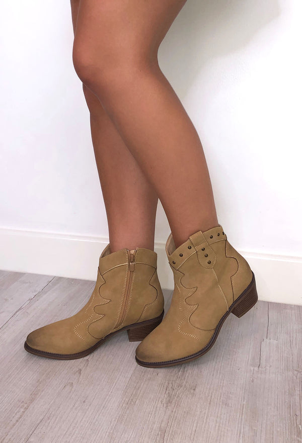 Shania Western Boots - Camel