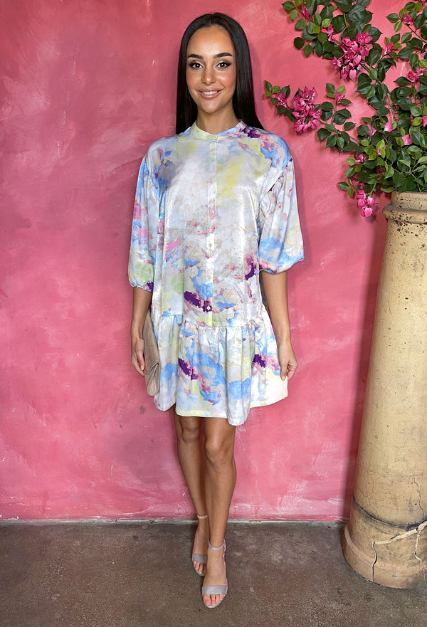 Ichi Cloudy Multi Coloured Smock Dress