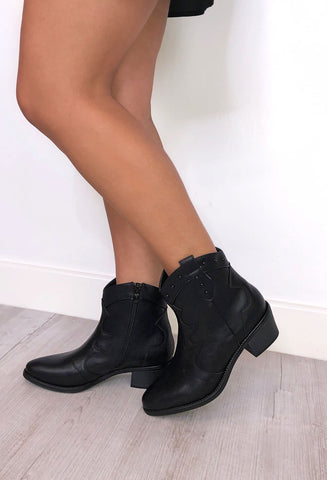 Shania Western Boots - Black