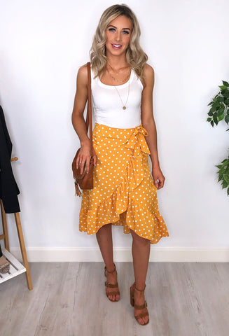Mila Polka Dot Frill Midi Skirt - Yellow
