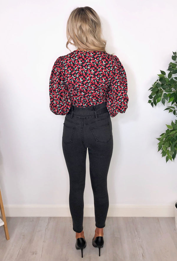 Orla Printed Blouse - Black and Red