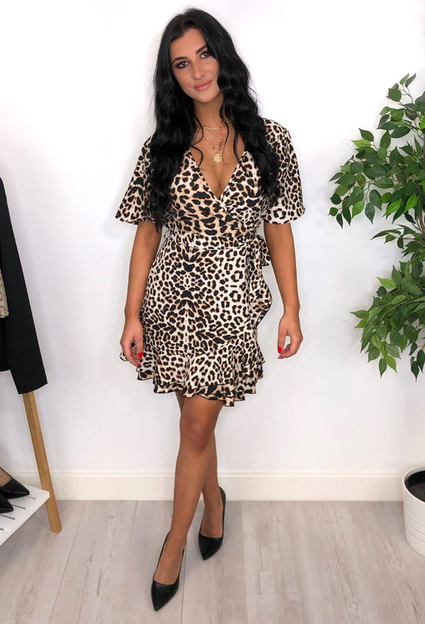Macey Leopard Print Wrap Dress