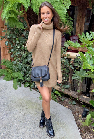 ONLY Jana Cowl Neck Jumper Dress - Tan