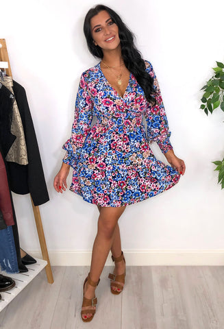 Lucy Floral Print Skater Dress - Pink
